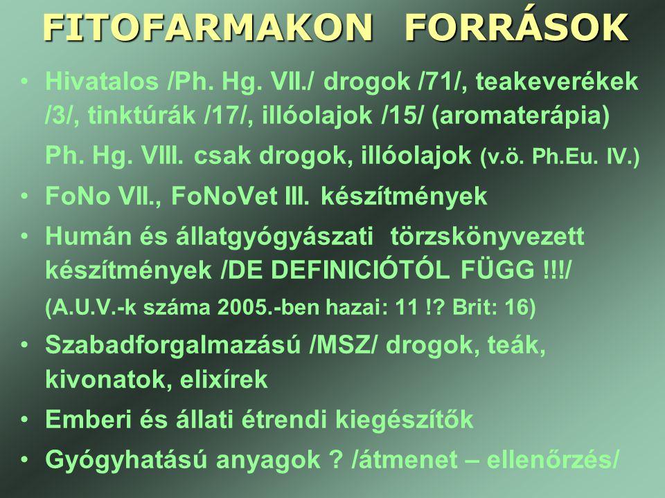 FITOFARMAKON FORRÁSOK •Hivatalos /Ph. Hg. VII./ drogok /71/, teakeverékek /3/, tinktúrák /17/, illóolajok /15/ (aromaterápia) Ph. Hg. VIII. csak drogo