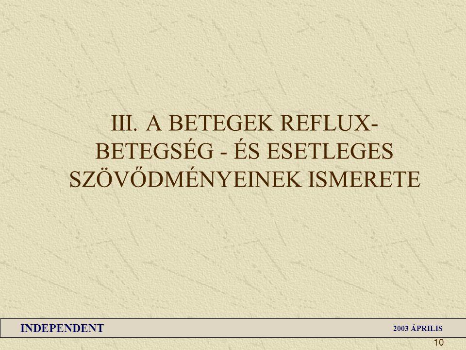 INDEPENDENT 2003 ÁPRILIS 10 III. A BETEGEK REFLUX- BETEGSÉG - ÉS ESETLEGES SZÖVŐDMÉNYEINEK ISMERETE