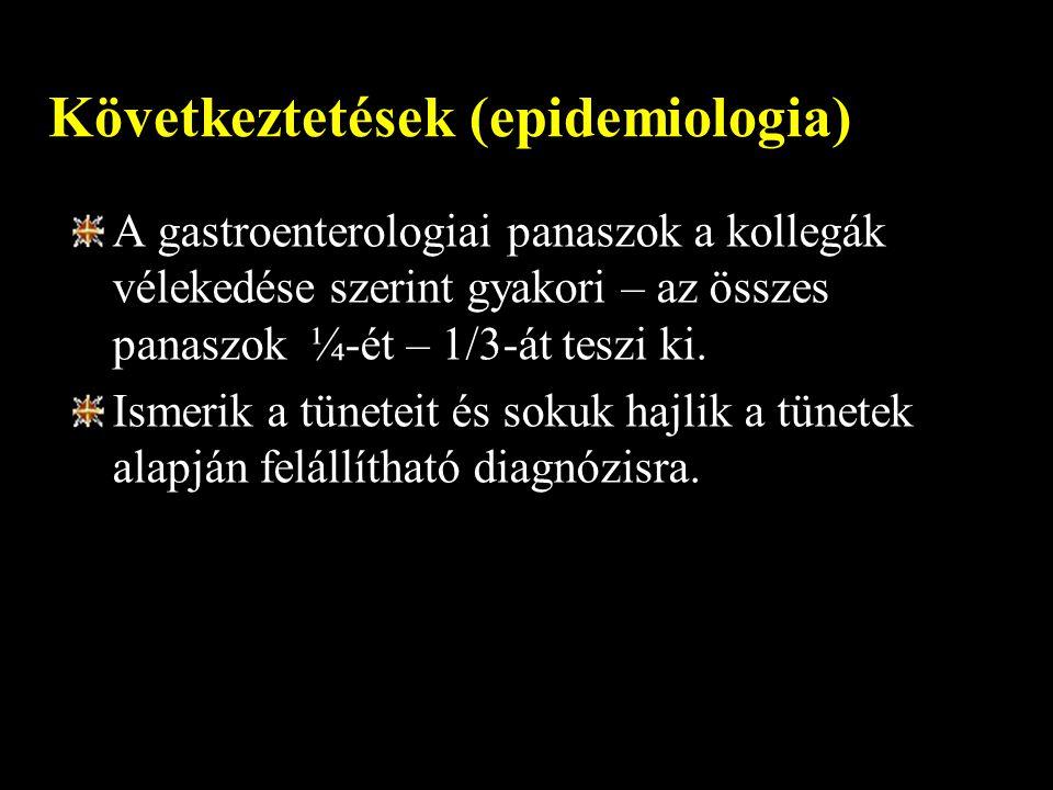 Következtetések (epidemiologia) A gastroenterologiai panaszok a kollegák vélekedése szerint gyakori – az összes panaszok ¼-ét – 1/3-át teszi ki. Ismer