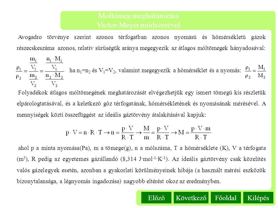 Kilépés Moltömeg meghatározása Victor-Meyer módszerével FőoldalKövetkezőElőző Avogadro törvénye szerint azonos térfogatban azonos nyomású és hőmérsékl