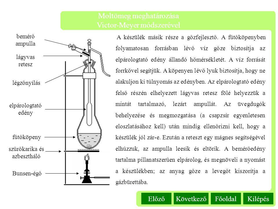 Kilépés Moltömeg meghatározása Victor-Meyer módszerével FőoldalKövetkezőElőző A készülék másik része a gőzfejlesztő. A fűtőköpenyben folyamatosan forr
