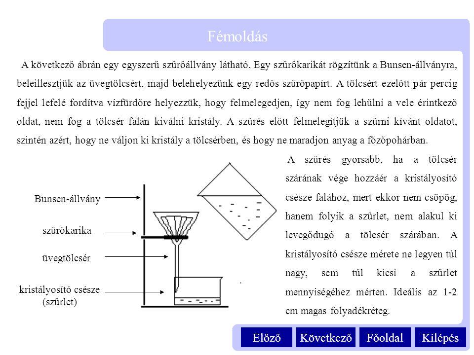 KilépésFőoldalKövetkezőElőző Fémoldás A következő ábrán egy egyszerű szűrőállvány látható. Egy szűrőkarikát rögzítünk a Bunsen-állványra, beleillesztj