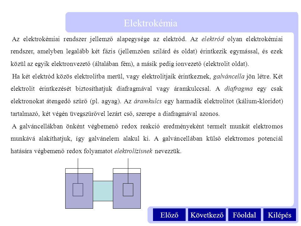 Kilépés Elektrokémia FőoldalKövetkezőElőző Az elektrokémiai rendszer jellemző alapegysége az elektród. Az elektród olyan elektrokémiai rendszer, amely