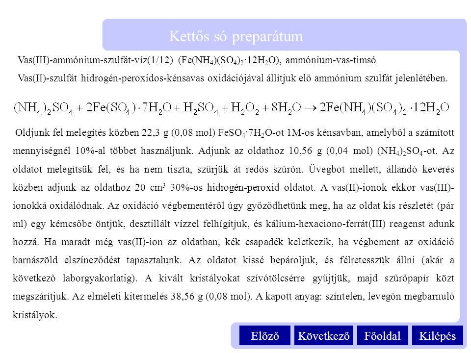 Kilépés Kettős só preparátum FőoldalKövetkezőElőző Vas(III)-ammónium-szulfát-víz(1/12) (Fe(NH 4 )(SO 4 ) 2 ·12H 2 O), ammónium-vas-timsó Vas(II)-szulf
