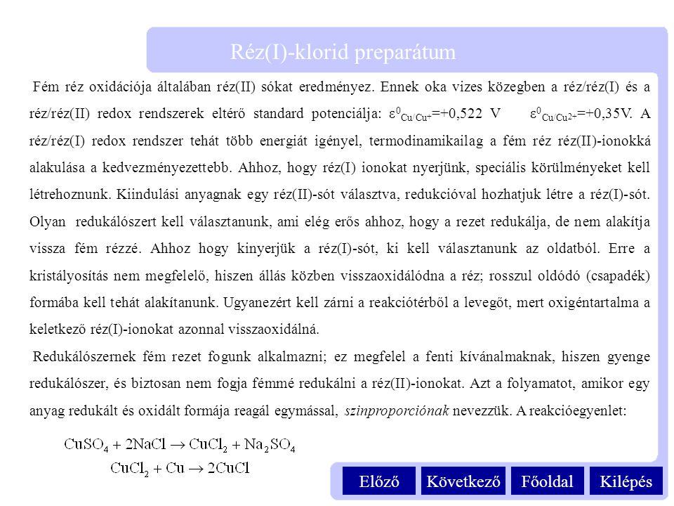 Kilépés Réz(I)-klorid preparátum FőoldalKövetkezőElőző Fém réz oxidációja általában réz(II) sókat eredményez. Ennek oka vizes közegben a réz/réz(I) és