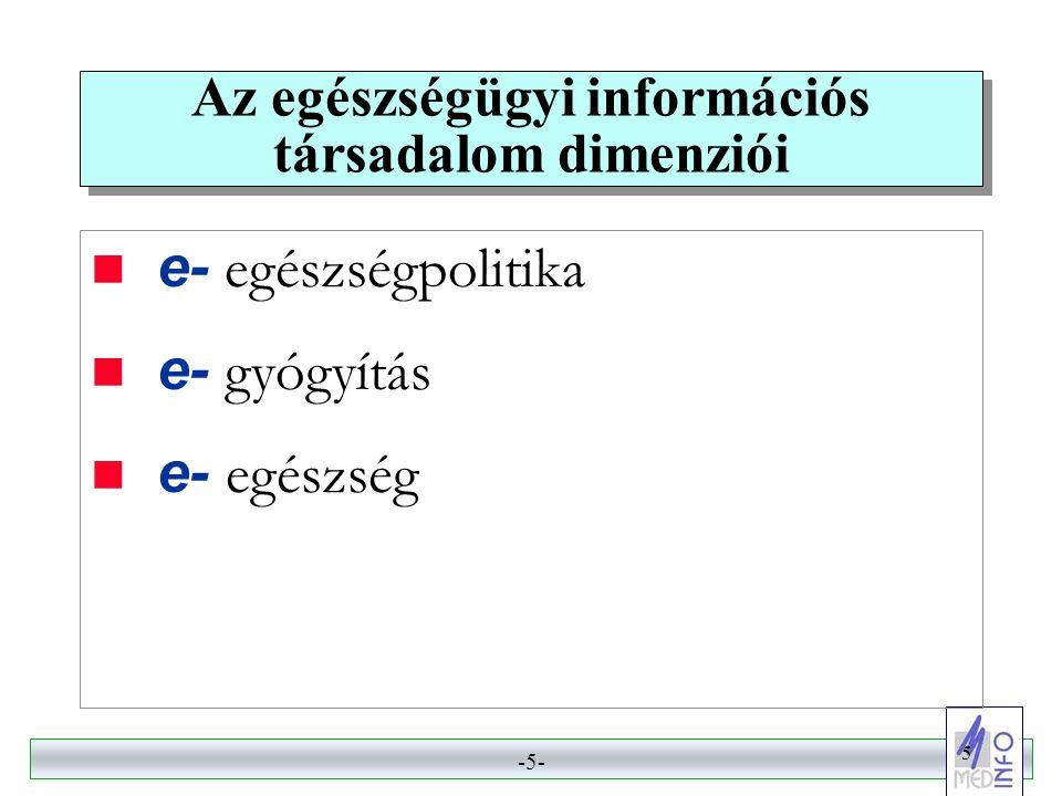 -5- 5 Az egészségügyi információs társadalom dimenziói  e- egészségpolitika  e- gyógyítás  e- egészség