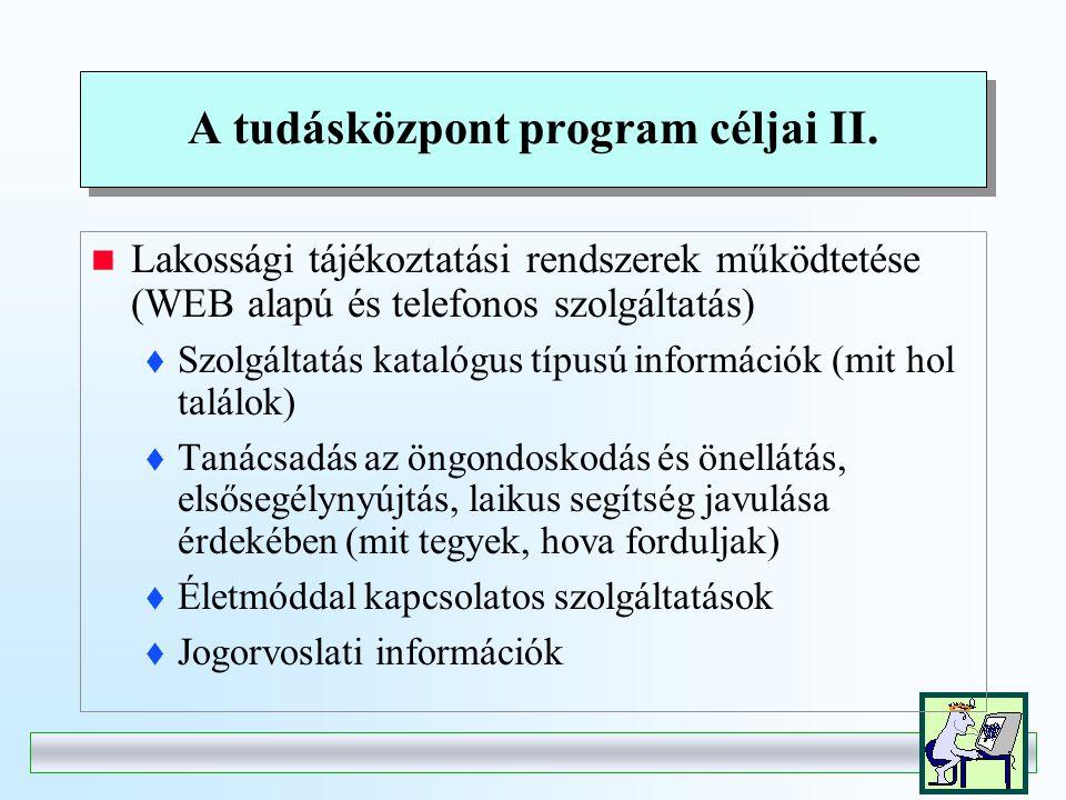 A tudásközpont program céljai I.