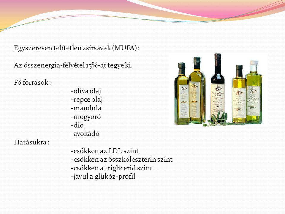 Egyszeresen telítetlen zsírsavak (MUFA): Az összenergia-felvétel 15%-át tegye ki. Fő források : -olíva olaj -repce olaj -mandula -mogyoró -dió -avokád