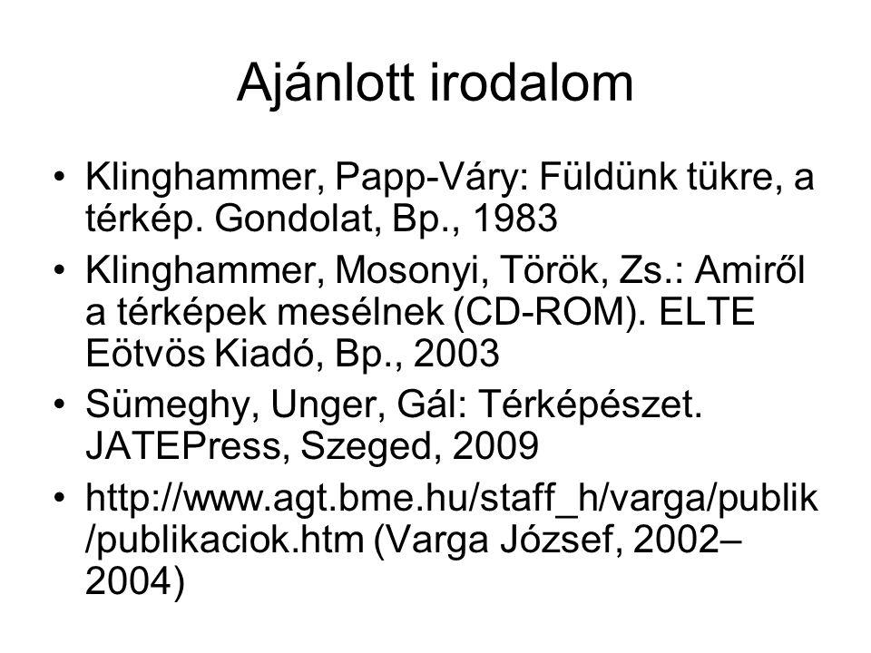 Ajánlott irodalom •Klinghammer, Papp-Váry: Füldünk tükre, a térkép. Gondolat, Bp., 1983 •Klinghammer, Mosonyi, Török, Zs.: Amiről a térképek mesélnek