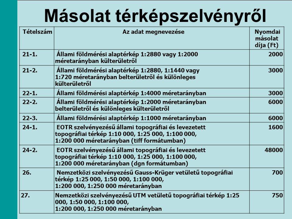 Másolat térképszelvényről Tételszám Az adat megnevezése Nyomdai másolat díja (Ft) 21-1. Állami földmérési alaptérkép 1:2880 vagy 1:2000 méretarányban