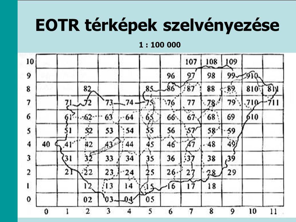 EOTR térképek szelvényezése 1 : 100 000
