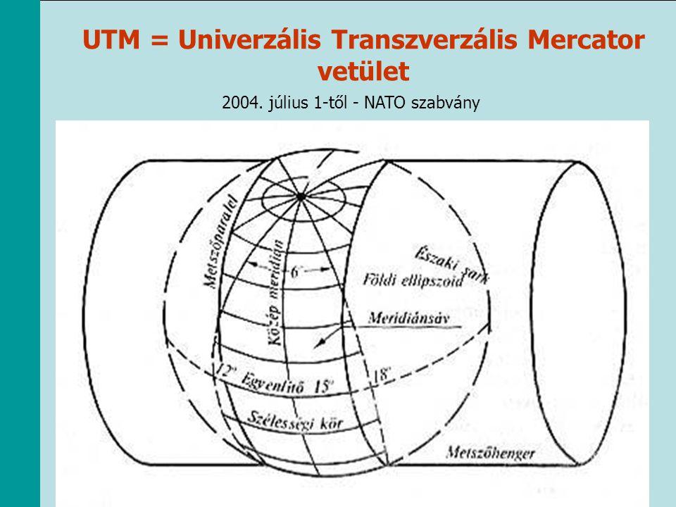 UTM = Univerzális Transzverzális Mercator vetület 2004. július 1-től - NATO szabvány