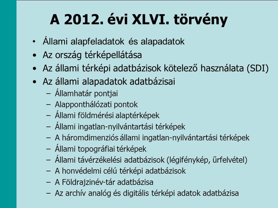 A 2012. évi XLVI. törvény •Állami alapfeladatok és alapadatok •Az ország térképellátása •Az állami térképi adatbázisok kötelező használata (SDI) •Az á