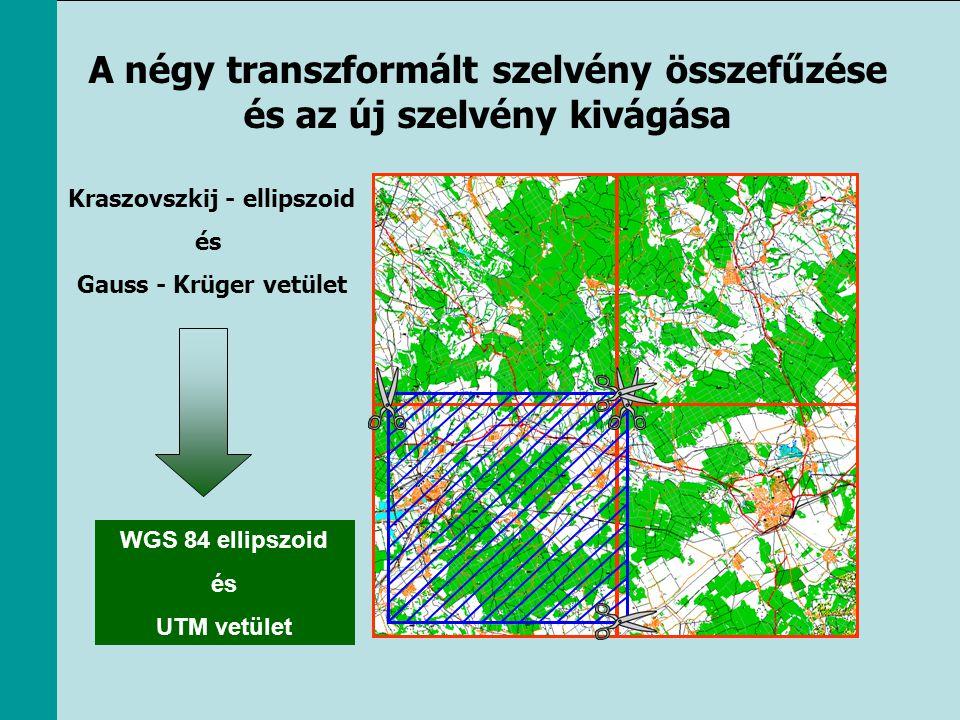A négy transzformált szelvény összefűzése és az új szelvény kivágása Kraszovszkij - ellipszoid és Gauss - Krüger vetület WGS 84 ellipszoid és UTM vetü