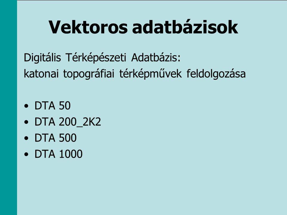 Vektoros adatbázisok Digitális Térképészeti Adatbázis: katonai topográfiai térképművek feldolgozása •DTA 50 •DTA 200_2K2 •DTA 500 •DTA 1000