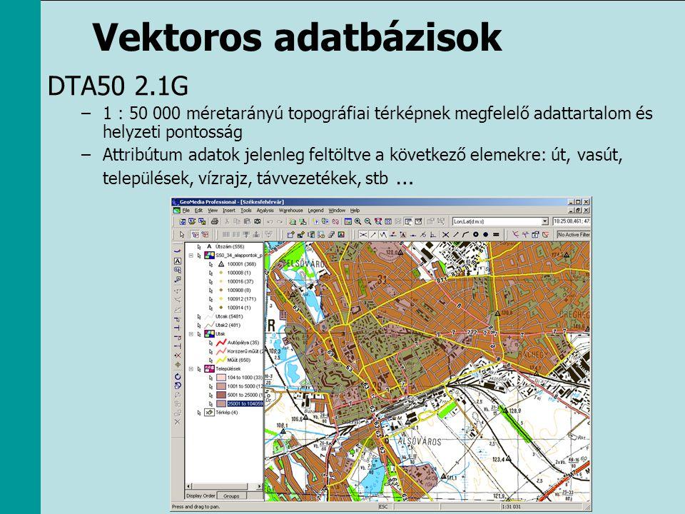 Vektoros adatbázisok DTA50 2.1G –1 : 50 000 méretarányú topográfiai térképnek megfelelő adattartalom és helyzeti pontosság –Attribútum adatok jelenleg