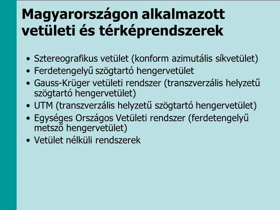 Magyarországon alkalmazott vetületi és térképrendszerek •Sztereografikus vetület (konform azimutális síkvetület) •Ferdetengelyű szögtartó hengervetüle