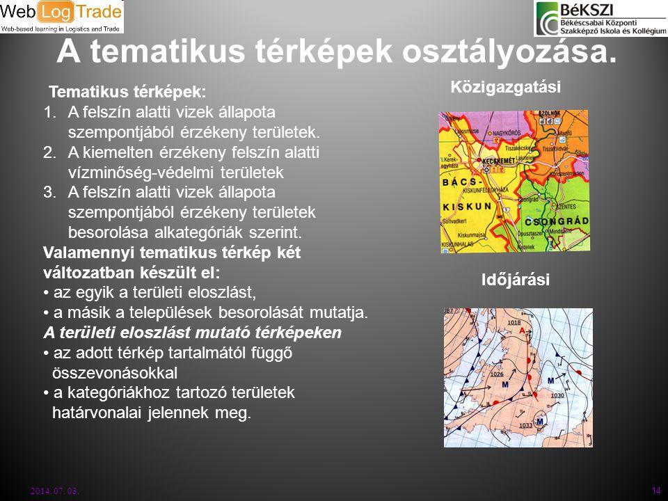 A tematikus térképek osztályozása. 2014. 07. 03. 14 Közigazgatási Időjárási Tematikus térképek: 1.A felszín alatti vizek állapota szempontjából érzéke