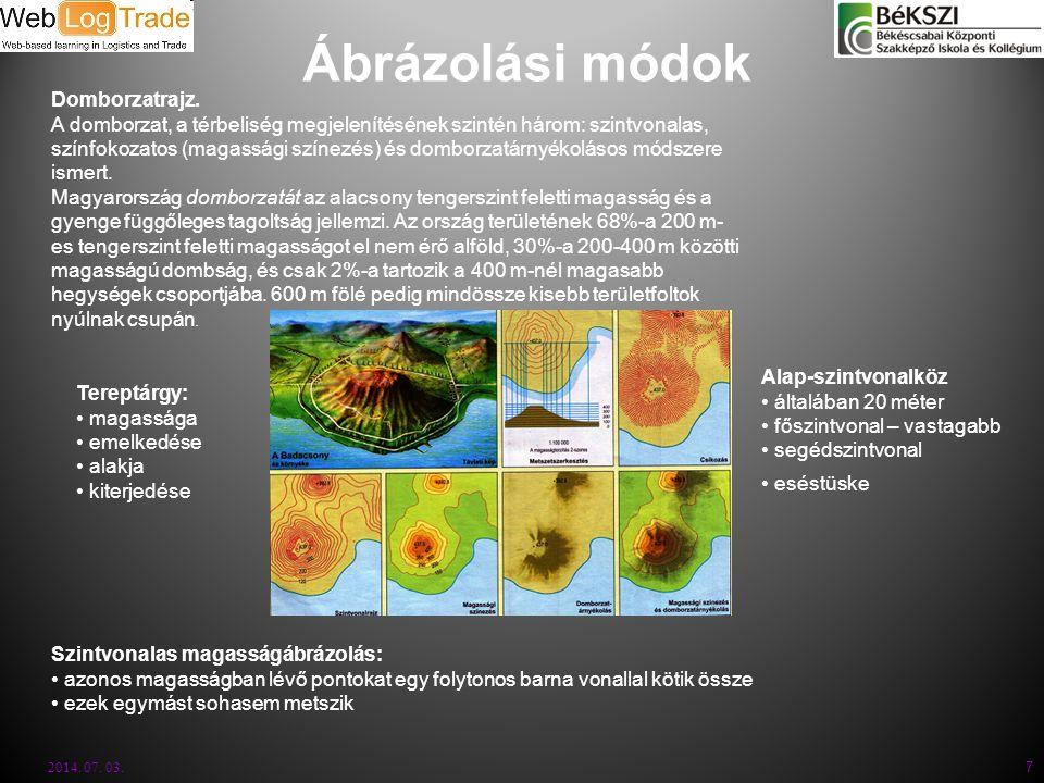Ábrázolási módok 2014. 07. 03. 7 Domborzatrajz. A domborzat, a térbeliség megjelenítésének szintén három: szintvonalas, színfokozatos (magassági színe