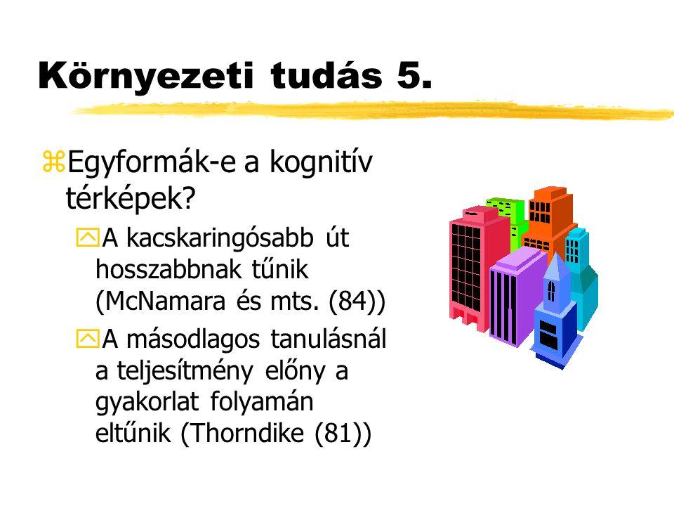 Környezeti tudás 5. zEgyformák-e a kognitív térképek? yA kacskaringósabb út hosszabbnak tűnik (McNamara és mts. (84)) yA másodlagos tanulásnál a telje