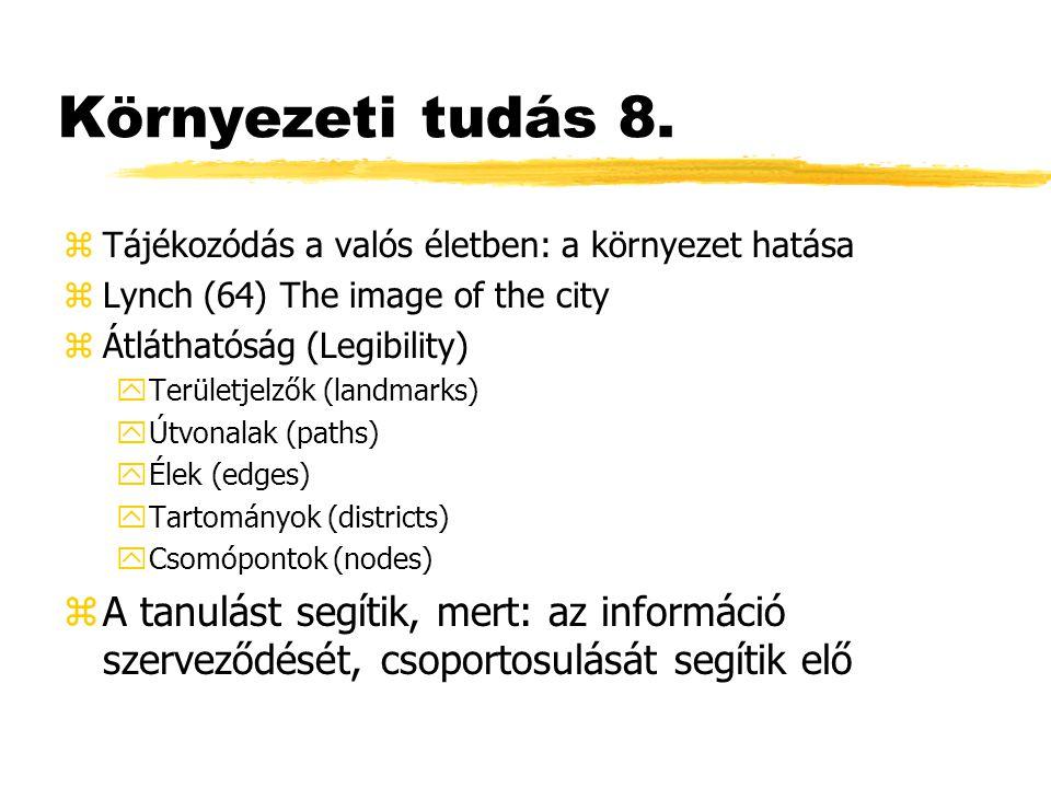 Környezeti tudás 8. zTájékozódás a valós életben: a környezet hatása zLynch (64) The image of the city zÁtláthatóság (Legibility) yTerületjelzők (land