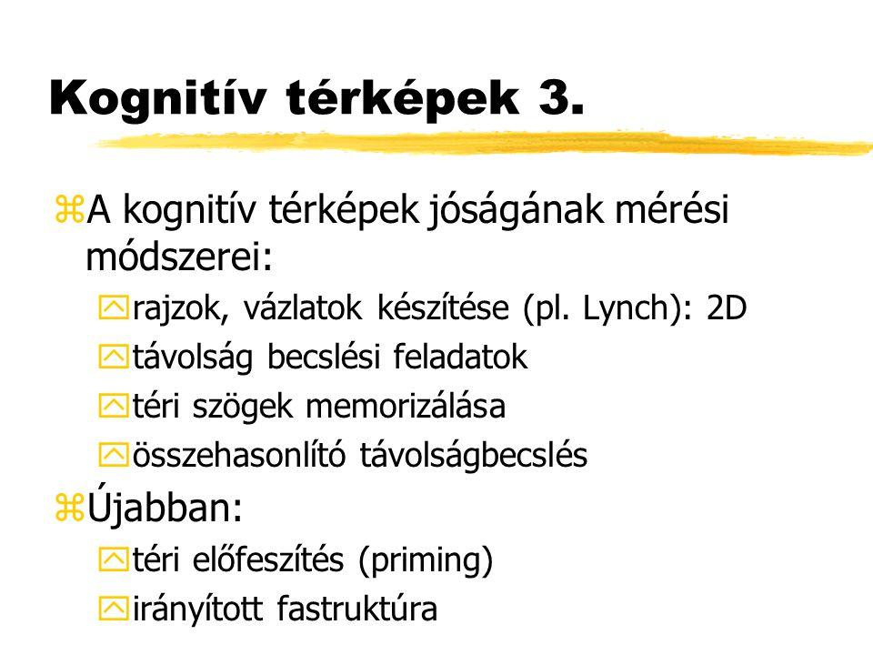 Kognitív térképek 3. zA kognitív térképek jóságának mérési módszerei: yrajzok, vázlatok készítése (pl. Lynch): 2D ytávolság becslési feladatok ytéri s