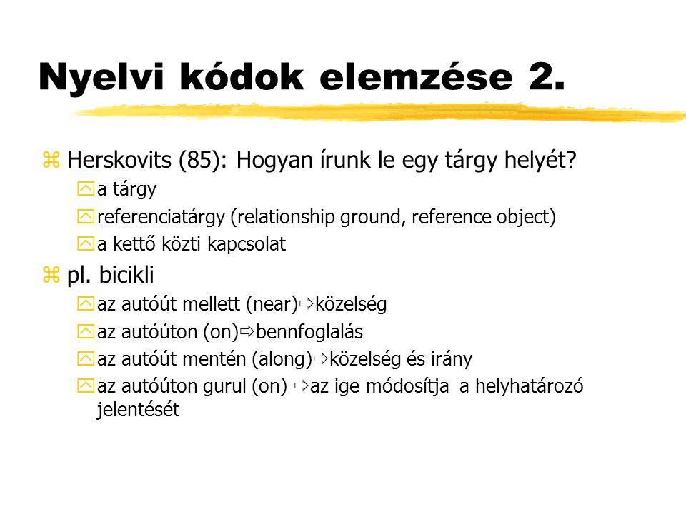 Nyelvi kódok elemzése 2. zHerskovits (85): Hogyan írunk le egy tárgy helyét? ya tárgy yreferenciatárgy (relationship ground, reference object) ya kett