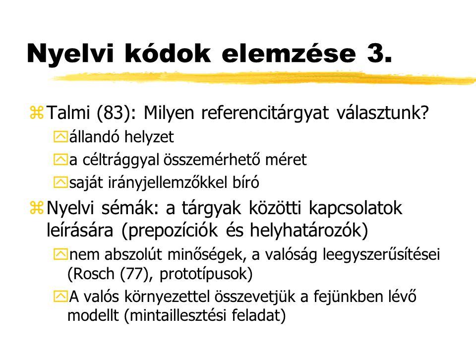Nyelvi kódok elemzése 3. zTalmi (83): Milyen referencitárgyat választunk? yállandó helyzet ya céltrággyal összemérhető méret ysaját irányjellemzőkkel
