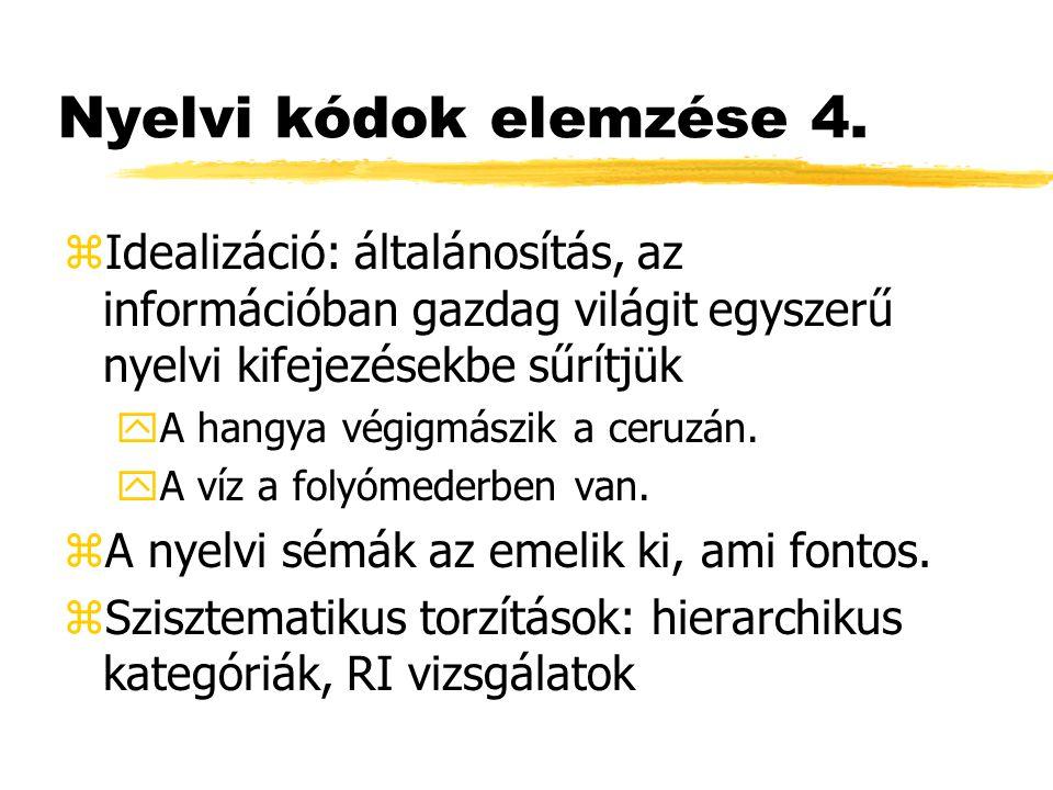 Nyelvi kódok elemzése 4. zIdealizáció: általánosítás, az információban gazdag világit egyszerű nyelvi kifejezésekbe sűrítjük yA hangya végigmászik a c