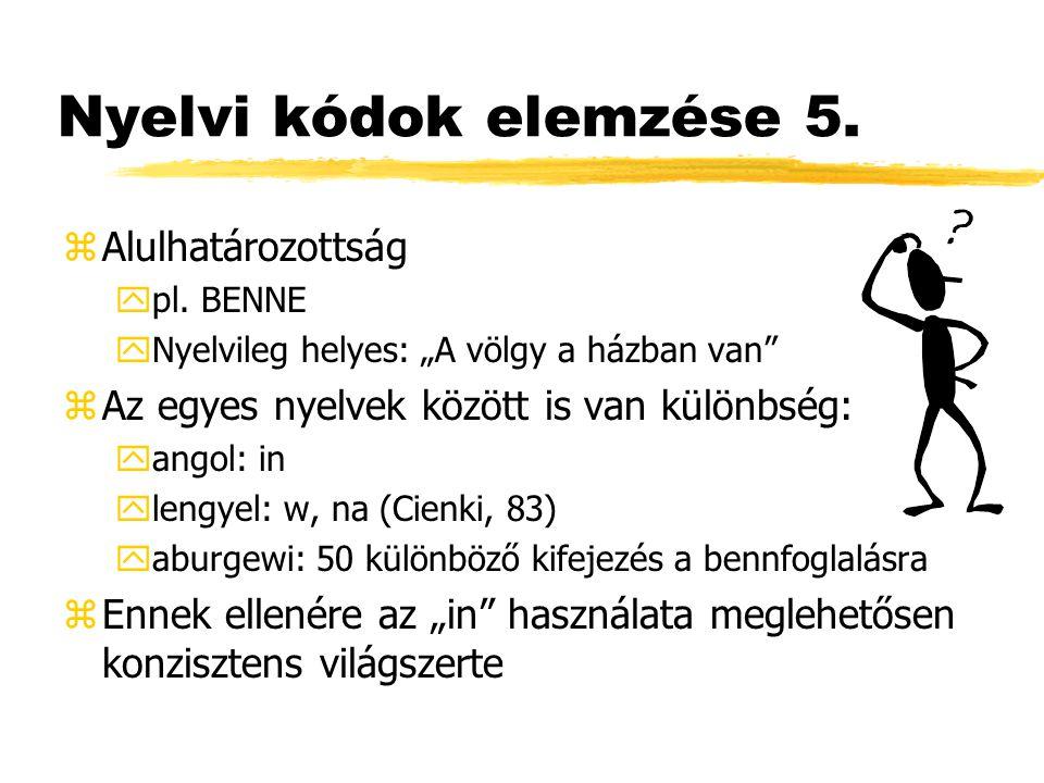 """Nyelvi kódok elemzése 5. zAlulhatározottság ypl. BENNE yNyelvileg helyes: """"A völgy a házban van"""" zAz egyes nyelvek között is van különbség: yangol: in"""