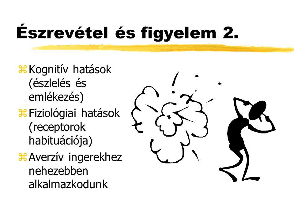 Észrevétel és figyelem 2. zKognitív hatások (észlelés és emlékezés) zFiziológiai hatások (receptorok habituációja) zAverzív ingerekhez nehezebben alka