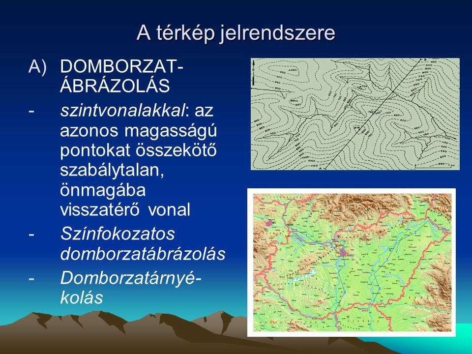 A térkép jelrendszere A)DOMBORZAT- ÁBRÁZOLÁS -szintvonalakkal: az azonos magasságú pontokat összekötő szabálytalan, önmagába visszatérő vonal -Színfok