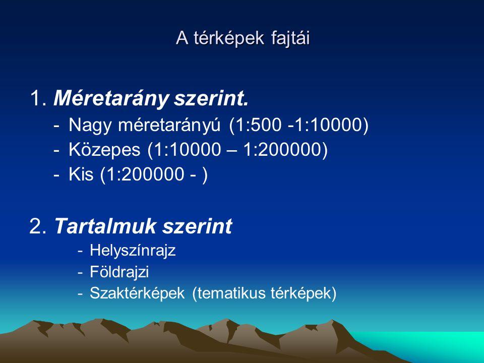 A térképek fajtái 1. Méretarány szerint. -Nagy méretarányú (1:500 -1:10000) -Közepes (1:10000 – 1:200000) -Kis (1:200000 - ) 2. Tartalmuk szerint -Hel