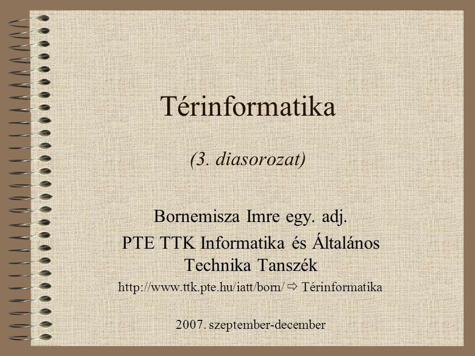 Térinformatika (3. diasorozat) Bornemisza Imre egy. adj. PTE TTK Informatika és Általános Technika Tanszék http://www.ttk.pte.hu/iatt/born/  Térinfor