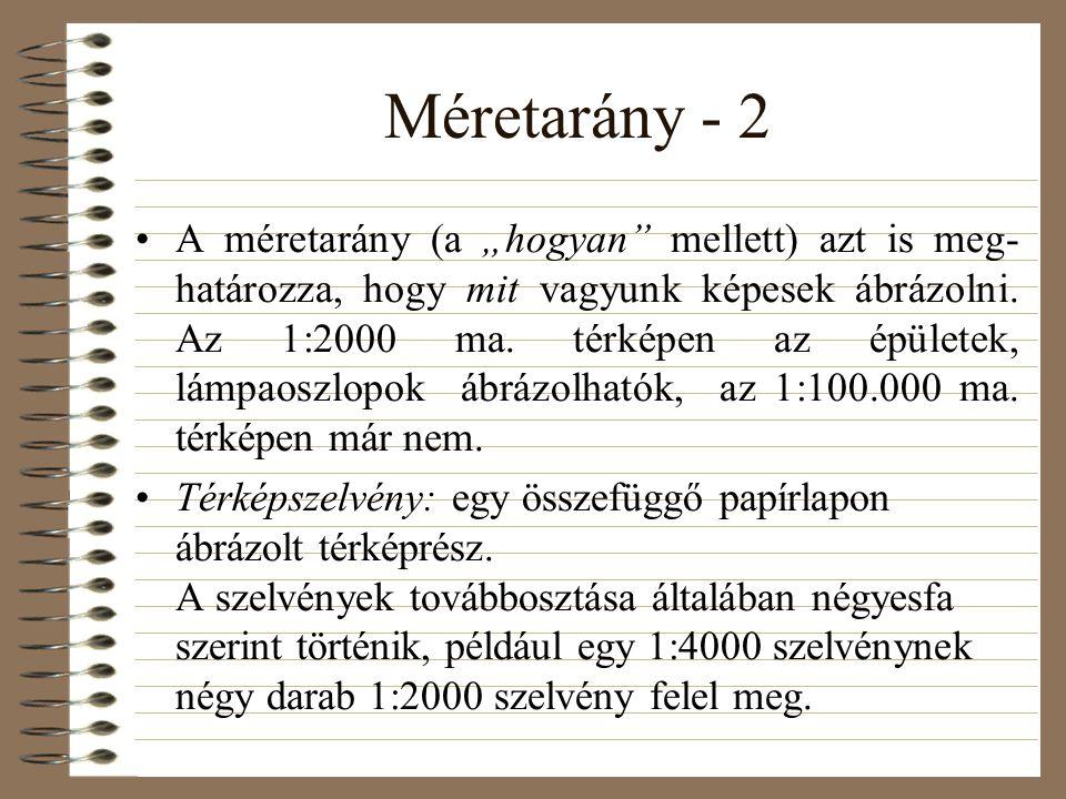 """Méretarány - 2 •A méretarány (a """"hogyan mellett) azt is meg- határozza, hogy mit vagyunk képesek ábrázolni."""