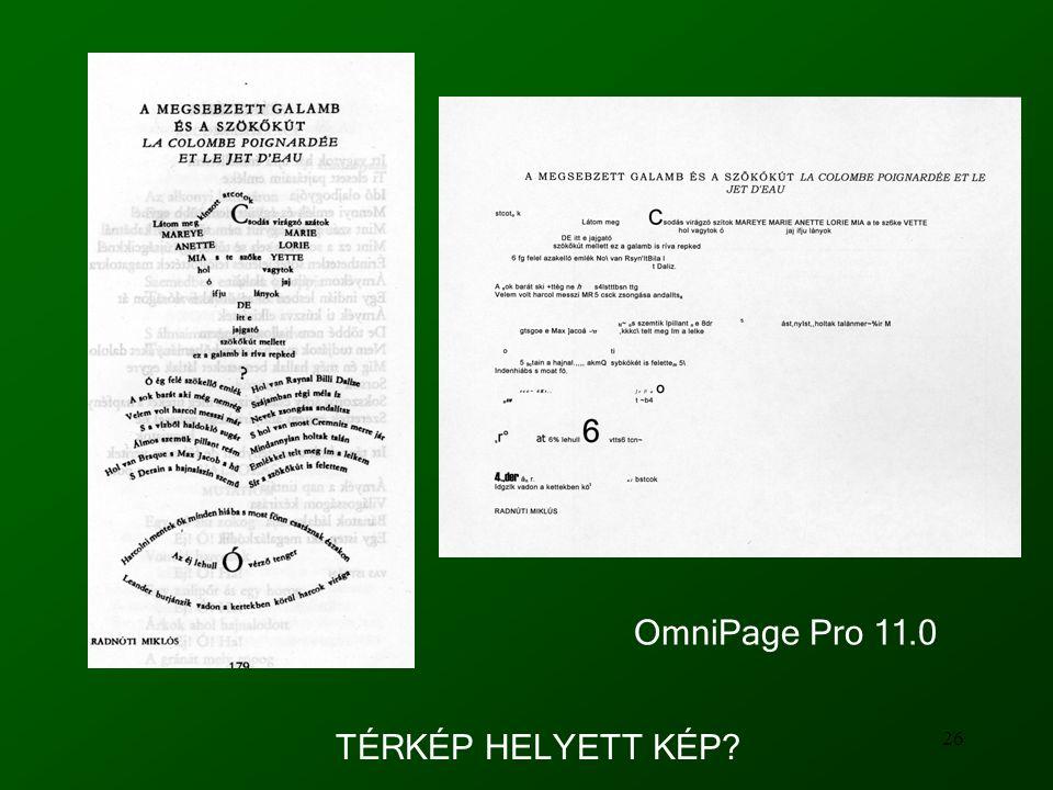26 OmniPage Pro 11.0 TÉRKÉP HELYETT KÉP?
