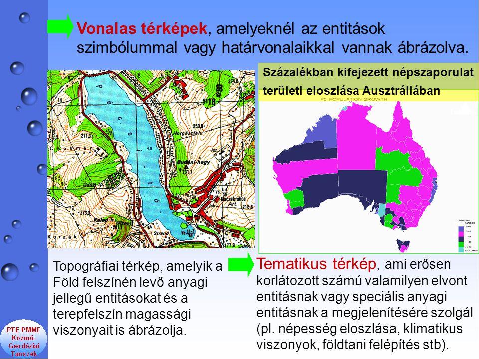 Vonalas térképek, amelyeknél az entitások szimbólummal vagy határvonalaikkal vannak ábrázolva. Topográfiai térkép, amelyik a Föld felszínén levő anyag