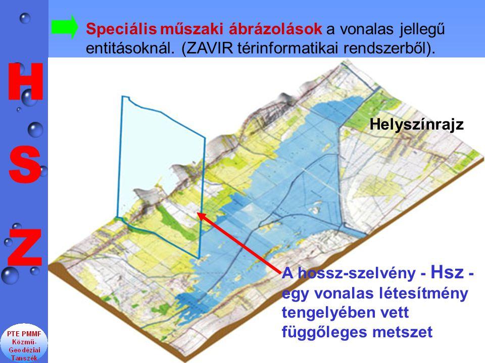 Speciális műszaki ábrázolások a vonalas jellegű entitásoknál. (ZAVIR térinformatikai rendszerből). Helyszínrajz A hossz-szelvény - Hsz - egy vonalas l