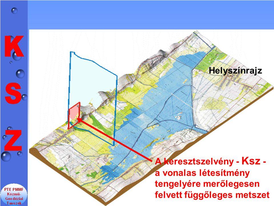 A keresztszelvény - Ksz - a vonalas létesítmény tengelyére merőlegesen felvett függőleges metszet Helyszínrajz