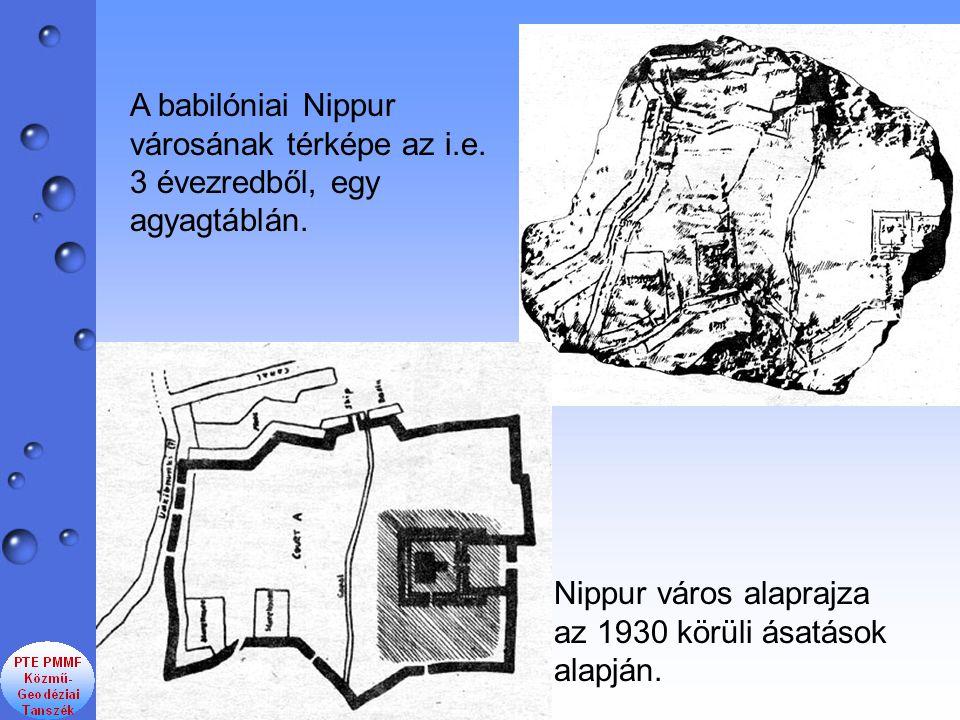 Nippur város alaprajza az 1930 körüli ásatások alapján. A babilóniai Nippur városának térképe az i.e. 3 évezredből, egy agyagtáblán.