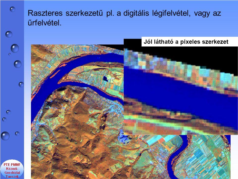 Raszteres szerkezetű pl. a digitális légifelvétel, vagy az űrfelvétel. Jól látható a pixeles szerkezet