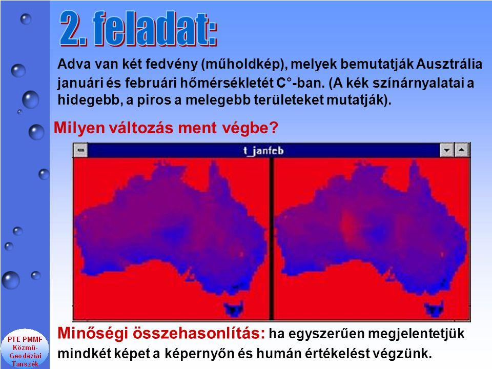 Adva van két fedvény (műholdkép), melyek bemutatják Ausztrália januári és februári hőmérsékletét C°-ban. (A kék színárnyalatai a hidegebb, a piros a m