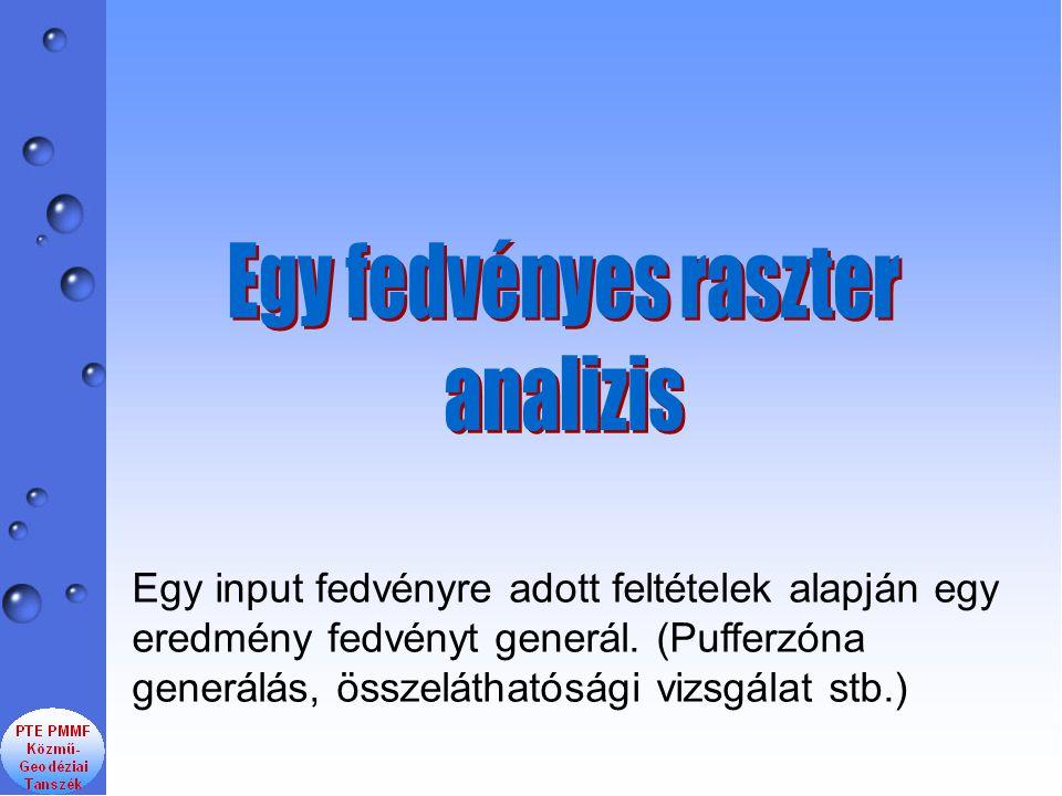 Egy input fedvényre adott feltételek alapján egy eredmény fedvényt generál. (Pufferzóna generálás, összeláthatósági vizsgálat stb.)