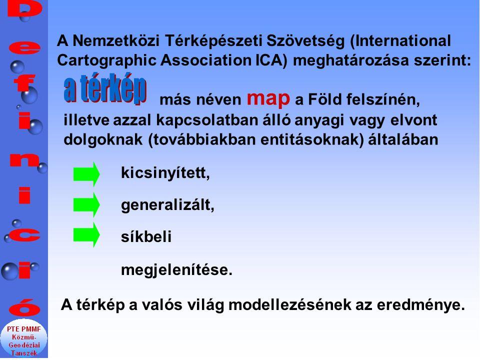 A Nemzetközi Térképészeti Szövetség (International Cartographic Association ICA) meghatározása szerint: kicsinyített, generalizált, síkbeli megjelenít
