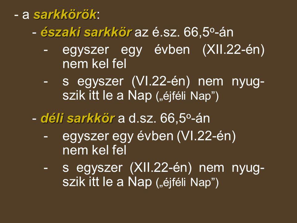 sarkkörök - a sarkkörök: északi sarkkör - északi sarkkör az é.sz. 66,5 o -án - egyszer egy évben (XII.22-én) nem kel fel - s egyszer (VI.22-én) nem ny