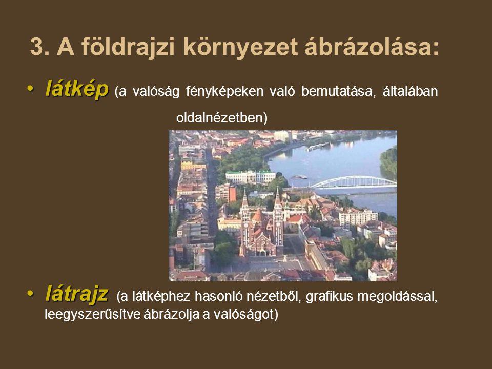 3. A földrajzi környezet ábrázolása: •látkép •látkép (a valóság fényképeken való bemutatása, általában oldalnézetben) •látrajz •látrajz (a látképhez h