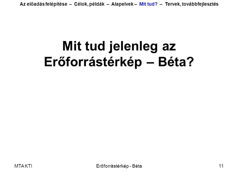 MTA KTIErőforrástérkép - Béta11 Mit tud jelenleg az Erőforrástérkép – Béta.