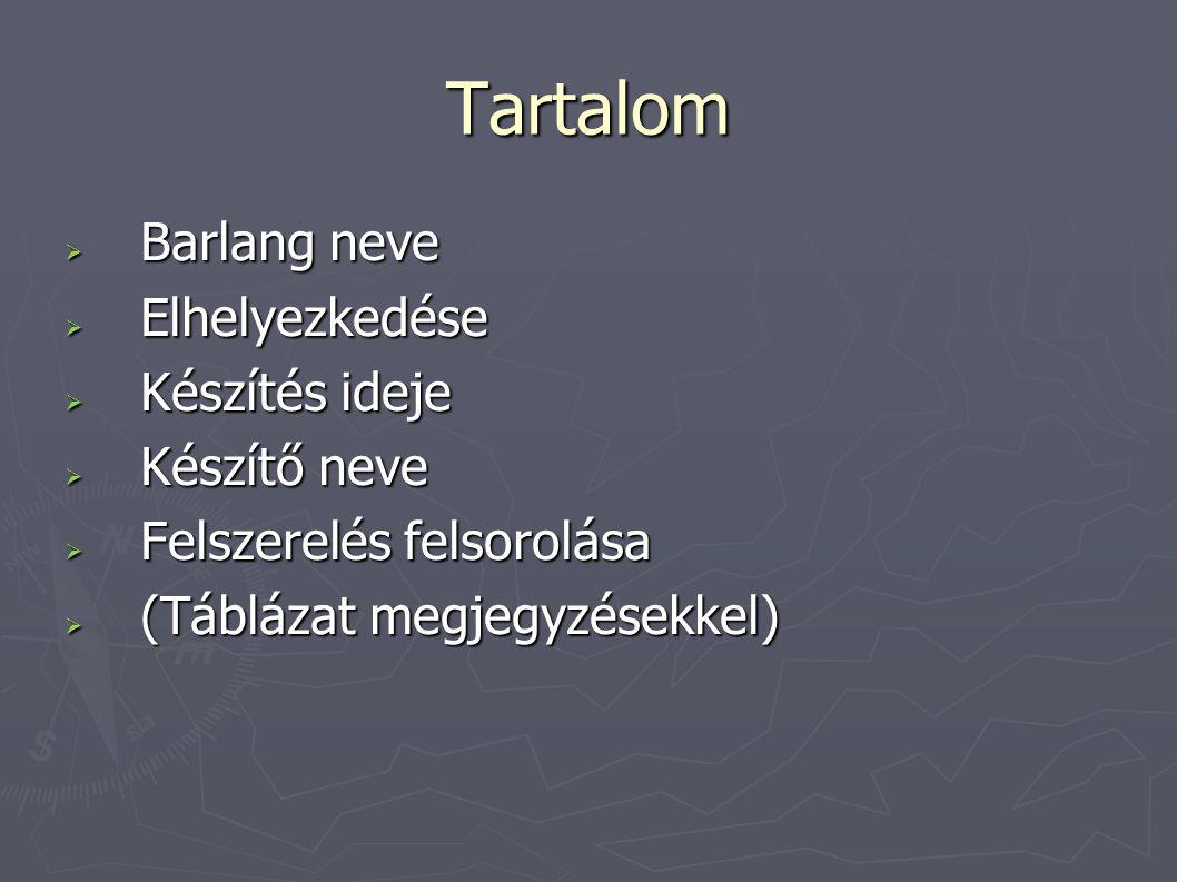 Tartalom  Barlang neve  Elhelyezkedése  Készítés ideje  Készítő neve  Felszerelés felsorolása  (Táblázat megjegyzésekkel)