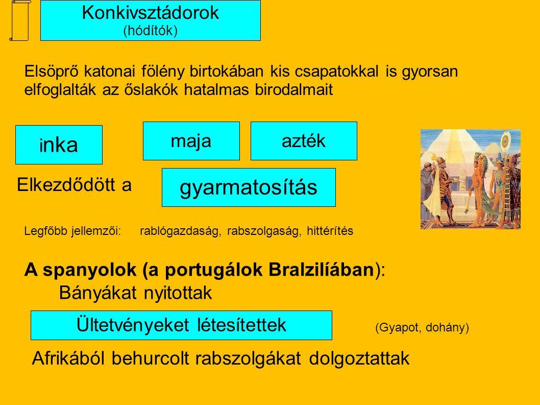 Konkivsztádorok (hódítók) gyarmatosítás Bányákat nyitottak Elsöprő katonai fölény birtokában kis csapatokkal is gyorsan elfoglalták az őslakók hatalmas birodalmait Afrikából behurcolt rabszolgákat dolgoztattak Ültetvényeket létesítettek azték i nka maja Elkezdődött a A spanyolok (a portugálok Bralzilíában): (Gyapot, dohány) rablógazdaság, rabszolgaság, hittérítésLegfőbb jellemzői:
