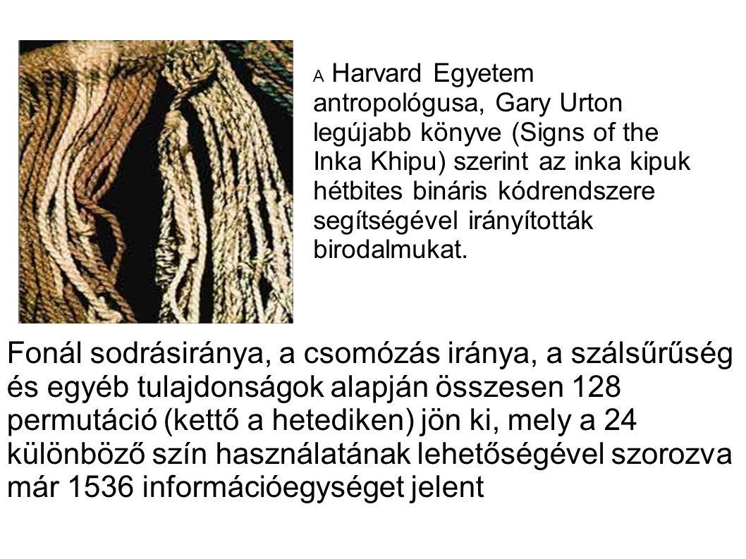 Fonál sodrásiránya, a csomózás iránya, a szálsűrűség és egyéb tulajdonságok alapján összesen 128 permutáció (kettő a hetediken) jön ki, mely a 24 különböző szín használatának lehetőségével szorozva már 1536 információegységet jelent A Harvard Egyetem antropológusa, Gary Urton legújabb könyve (Signs of the Inka Khipu) szerint az inka kipuk hétbites bináris kódrendszere segítségével irányították birodalmukat.